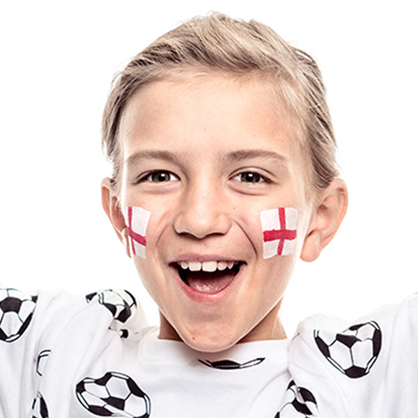 Boy with English Flag face paint design