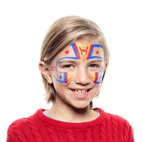 Boy with Superhero face paint design