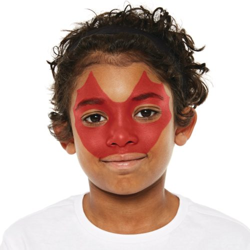 Boy with step 1 of Dragon face paint design