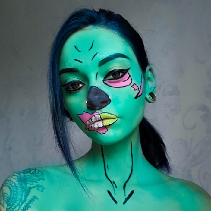 girl with Gaming Zombie face paint design