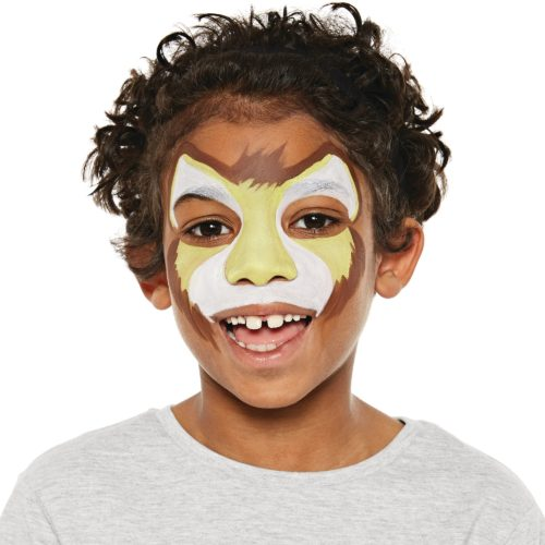 Boy with step 2 of Lion face paint design