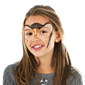 girl with step 2 of Penguin face paint design