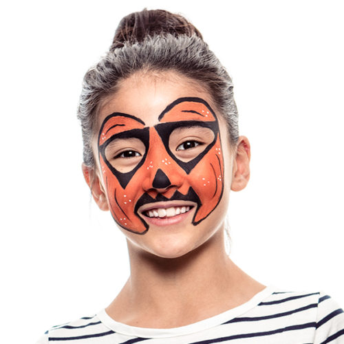Girl with step 2 of Colourful Rainbow Pumpkin face paint design for Halloween