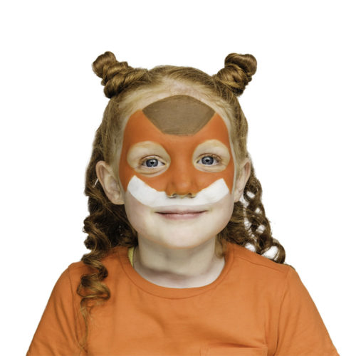 girl with step 1 of Robo Fox face paint design