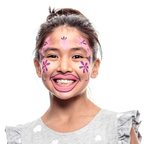 girl with step 2 of Toothy Fairy face paint design