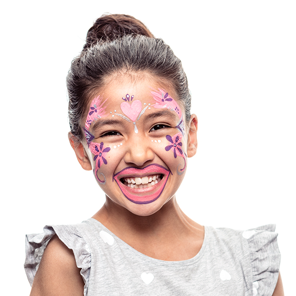 girl with Toothy Fairy face paint design