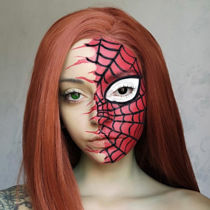 girl with Spider face paint design