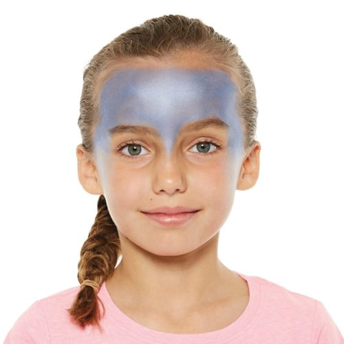 girl with step 1 of Ice Princess face paint design
