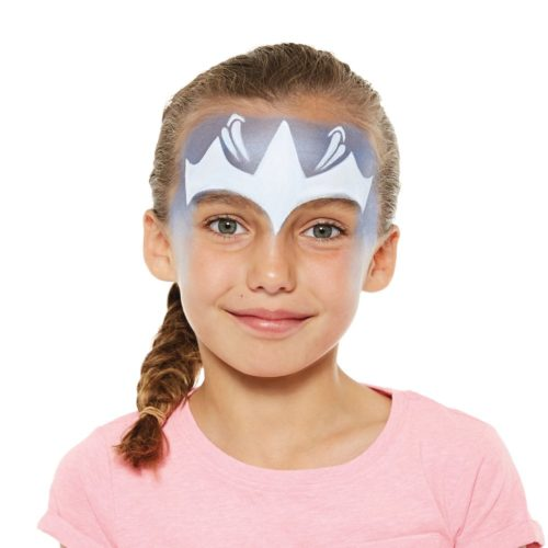 girl with step 2 of Ice Princess face paint design