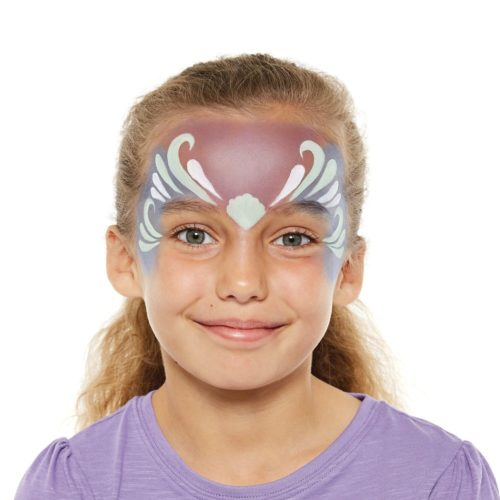 girl with step 2 of Mermaid face paint design
