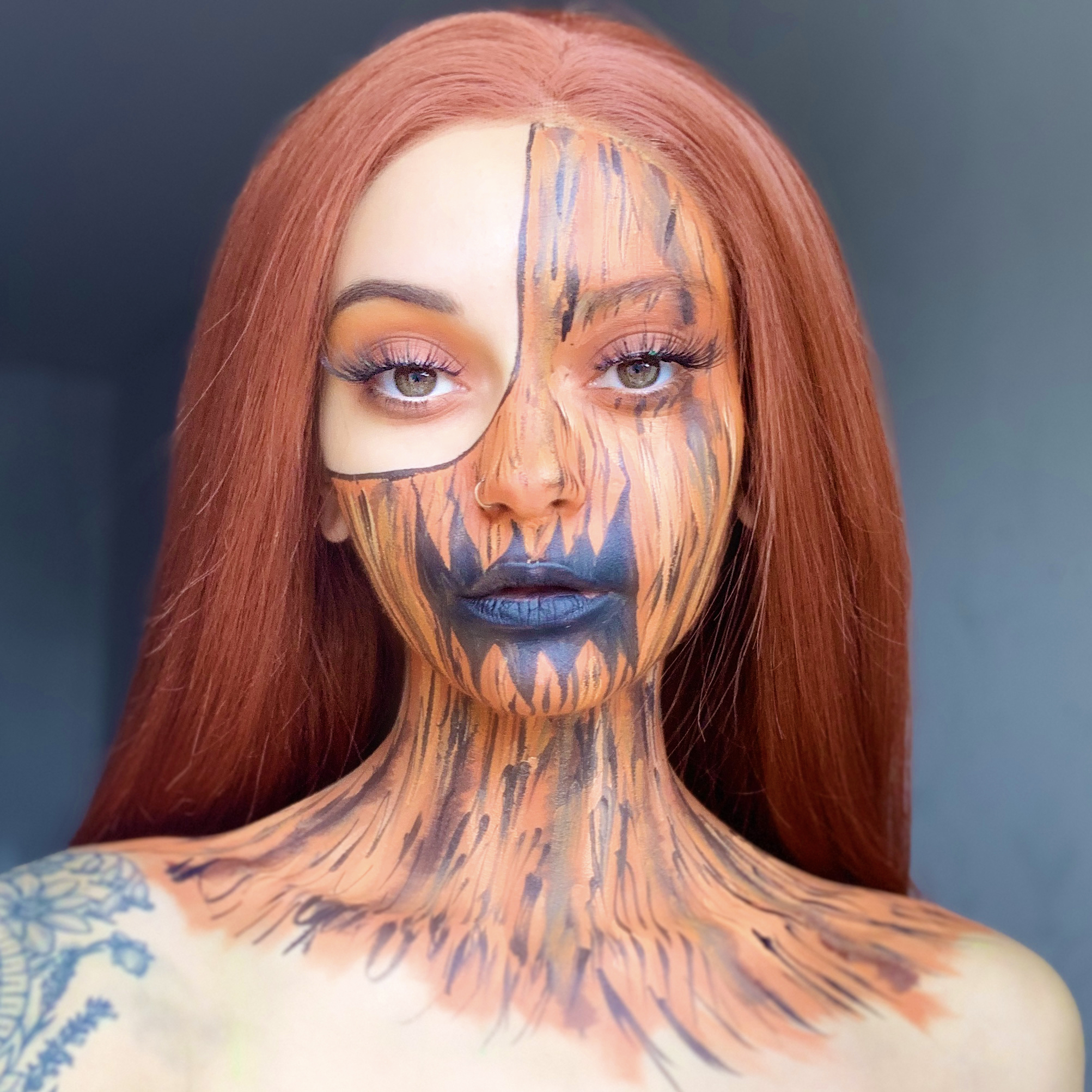 girl with Pumpkin Halloween face paint tutorial design