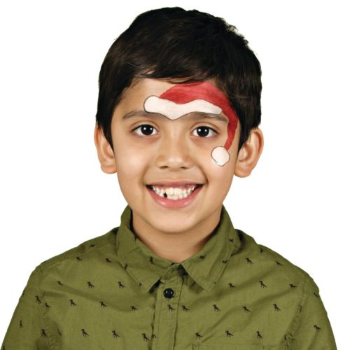 Boy with Santa face paint design for Christmas