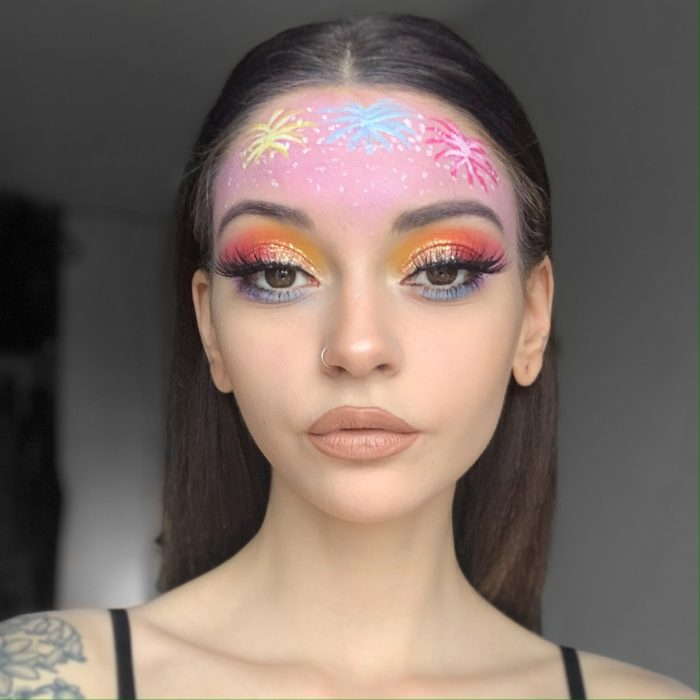 girl with Fab Firework face paint design