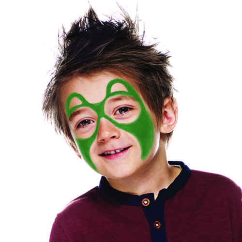 Boy with step 1 of Bear face paint design
