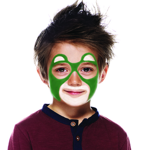 Boy with step 2 of Bear face paint design