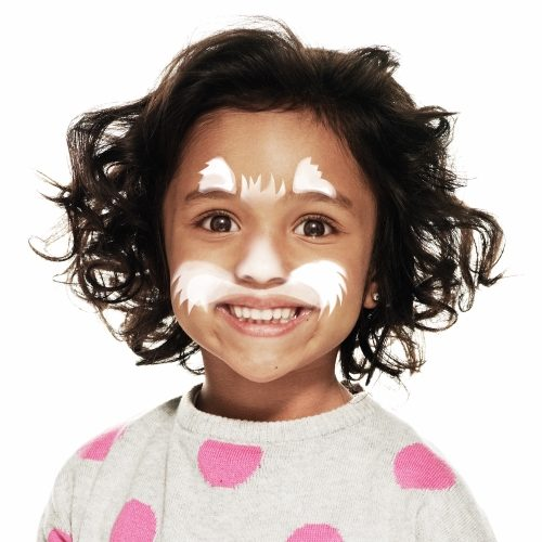 girl with step 1 of Cat face paint design