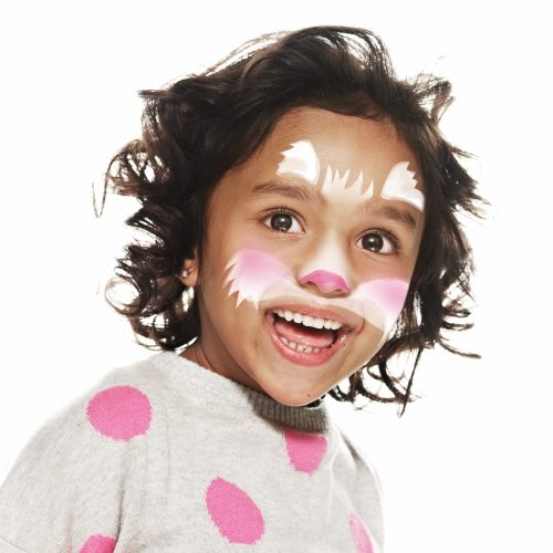 girl with step 2 of Cat face paint design