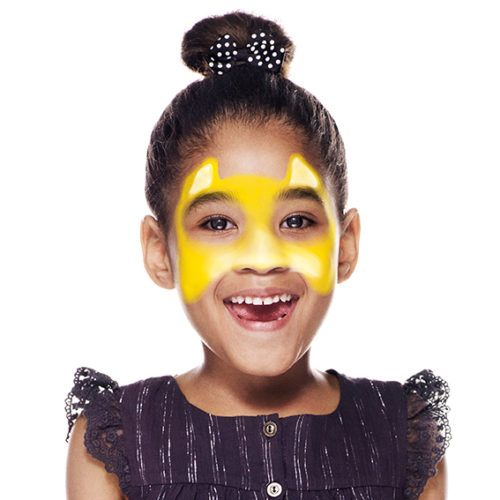 girl with step 2 of Cheetah face paint design