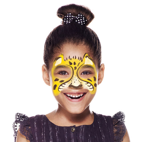 girl with Cheetah face paint design