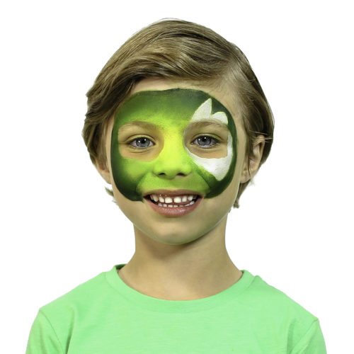 Boy with step 1 of Cyber Raptor Halloween face paint idea