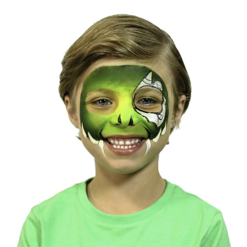 Boy with step 2 of Cyber Raptor Halloween face paint idea