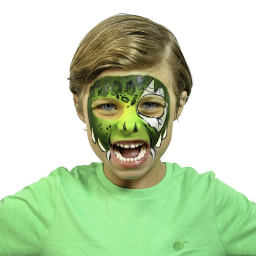 Boy with Cyber Raptor Halloween face paint idea