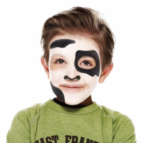 Boy with step 2 of Dog face paint design
