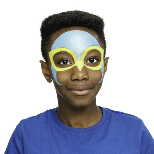 Boy with step 1 of Falcon Wing face paint design