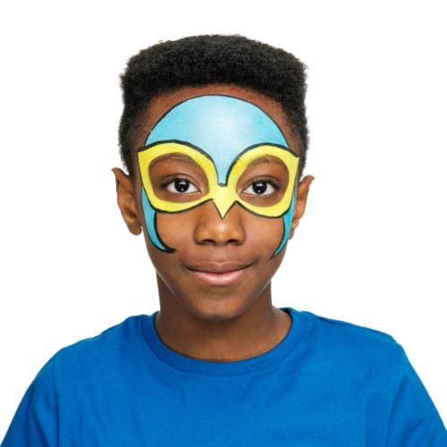 Boy with step 2 of Falcon Wing face paint design