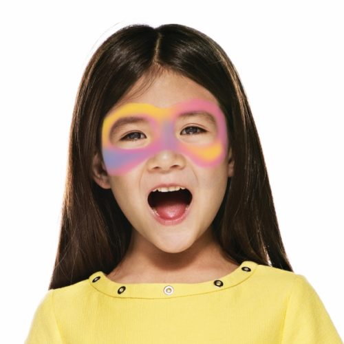 girl with step 1 of Carnival Mask face paint design