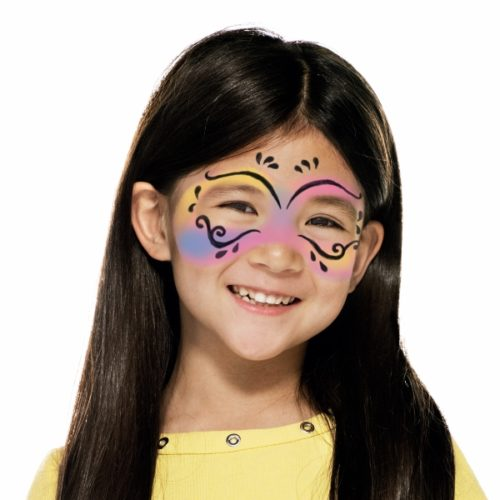 girl with step 2 of Carnival Mask face paint design