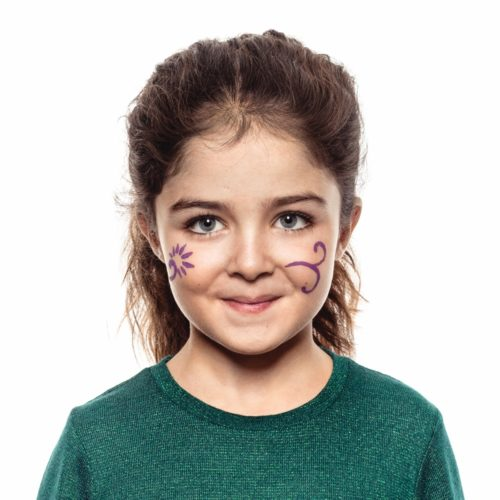girl with step 1 of Flowers face paint design