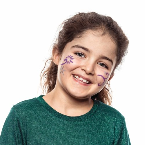 girl with step 2 of Flowers face paint design