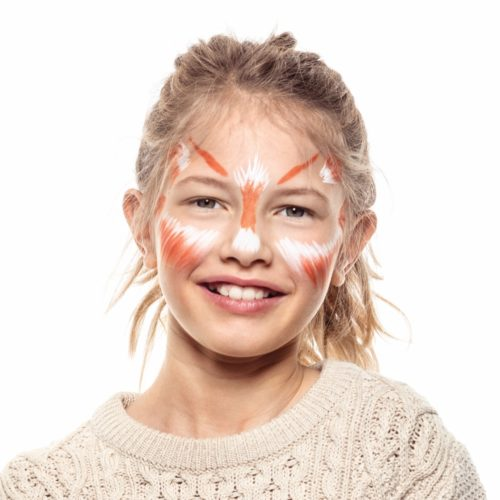 girl with step 2 of Fox face paint design