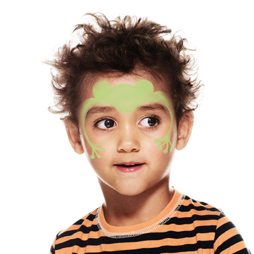 Boy with step 1 of Frog face paint design