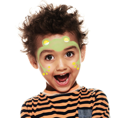 Boy with step 2 of Frog face paint design