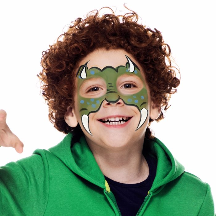 Boy with Dinosaur Boy face paint design