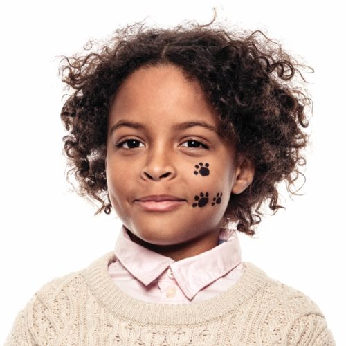 Boy with step 1 of Paws face paint design