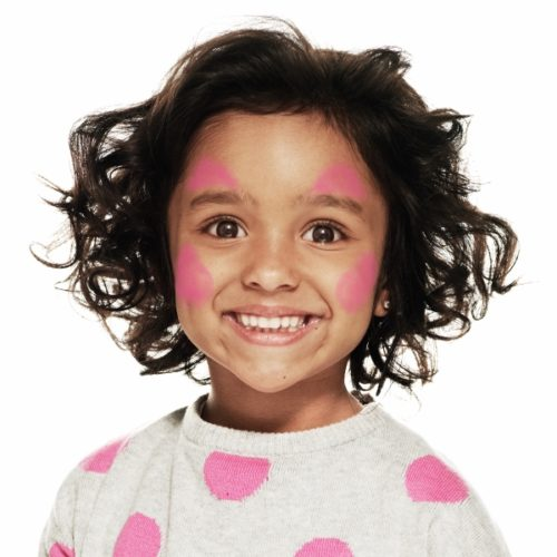 girl with step 1 of Multicolour Princess face paint design