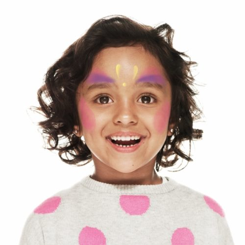girl with step 2 of Multicolour Princess face paint design