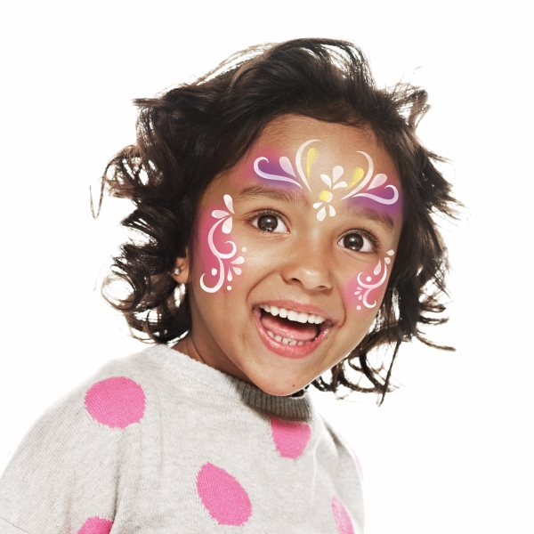girl with Multicolour Princess face paint design