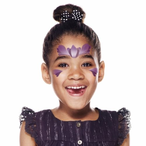 girl with step 2 of Princess Purple face paint design