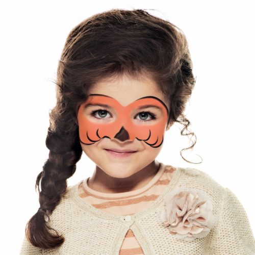 girl with step 2 of Halloween Pumpkin face paint design