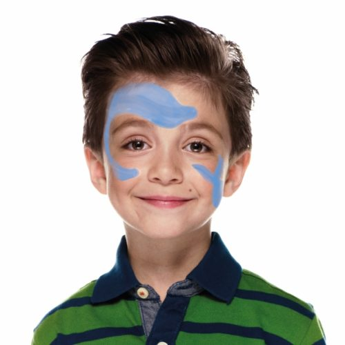 Boy with step 1 of Shark face paint design