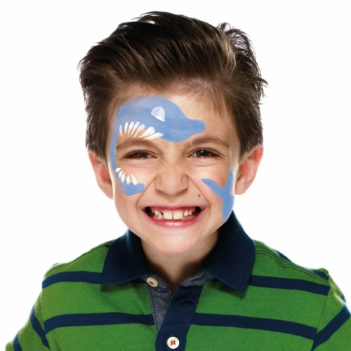 Boy with step 2 of Shark face paint design