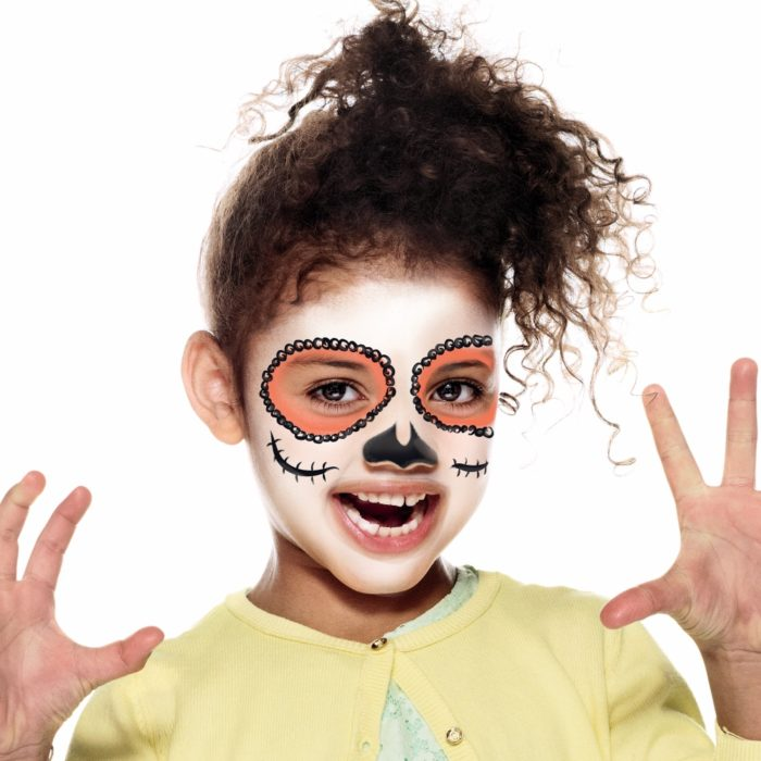 girl with Skeleton face paint design