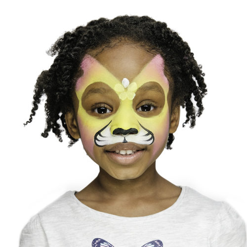 girl with step 2 of Tiger Fairy face paint design