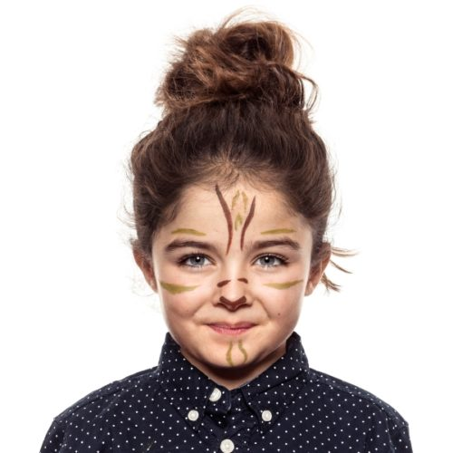 girl with step 2 of Tigress face paint design