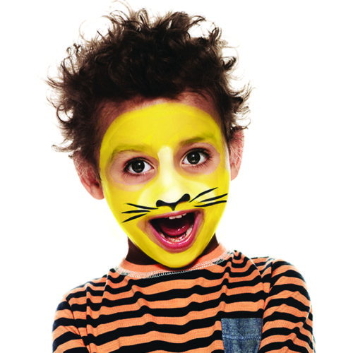 Boy with step 2 of Tiger face paint design