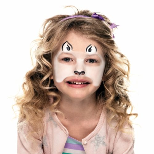 girl with step 2 of Zebra face paint design